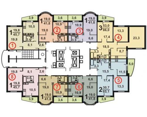 Типовые планировки дома серии и-155 башня (и-155б), планиров.